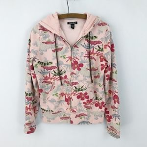 Lucky Brand Pink Asian Floral Zip Up Hoodie